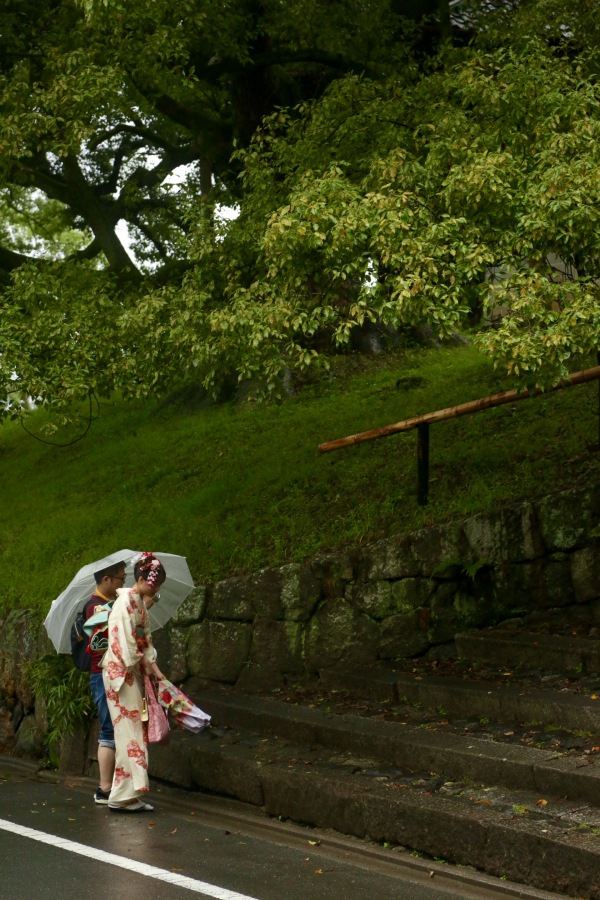 Geisha in the rain